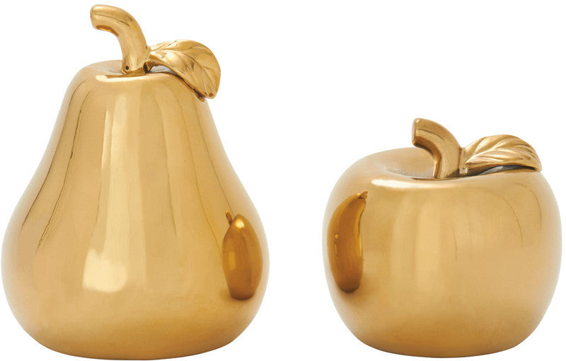 UMA Inc Cer Gold Pear Apple S/2 7 , 9 h