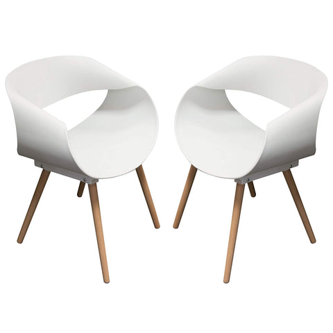 Diamond Sofa Accent Chairs in White with Beech Legs - Set of 4