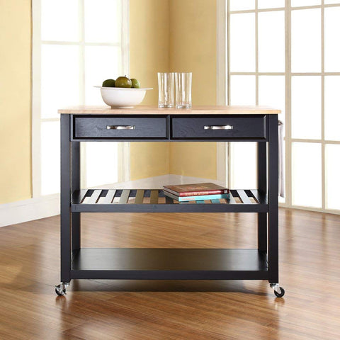 Crosley Furniture Portable Kitchen Cart with Natural Wood Top - Black