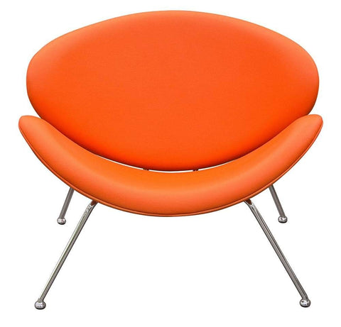 Diamond Sofa Accent Chair with Chrome Frame in Orange - Set of 2