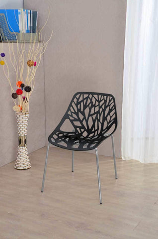Diamond Sofa Accent Chairs in Black Laser Cut - Set of 4