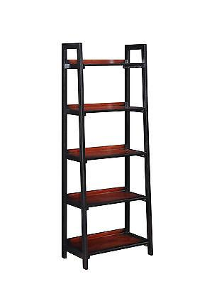 Linon 64019BLKCHY01KDU Camden Five Shelf Bookcase