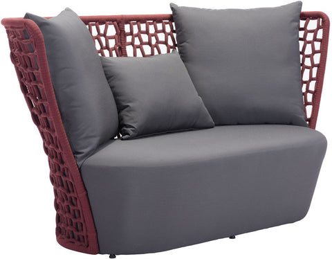 Zuo Modern 703587 Faye Bay Beach Sofa Color Cranberry & Gray Aluminum Frame Finish - Peazz Furniture - 1