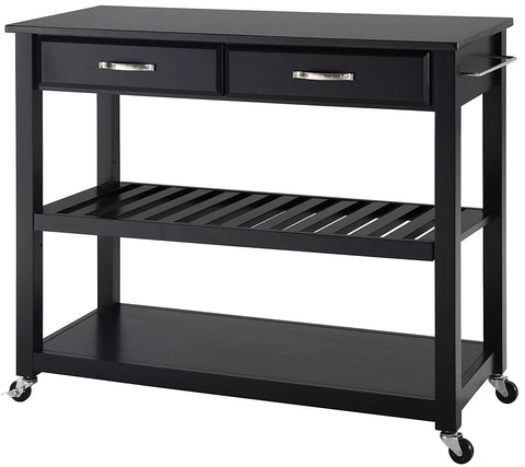 Crosley Furniture Portable Kitchen Cart with Solid Black Granite Top - Black
