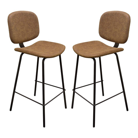 Diamond Sofa Upholstered Barstool in Coffee - Set of 2