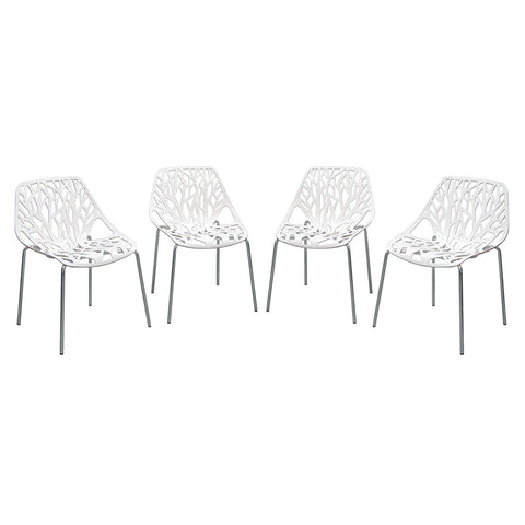 Diamond Sofa Accent Chairs in White with Chrome Leg - Set of 4