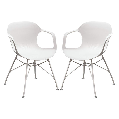 Diamond Sofa Drake Accent Chair in White - Set of 2