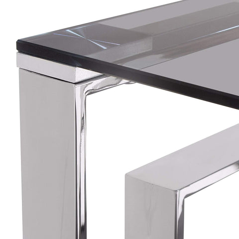Diamond Sofa Square End Table with Smoked Tempered Glass Top