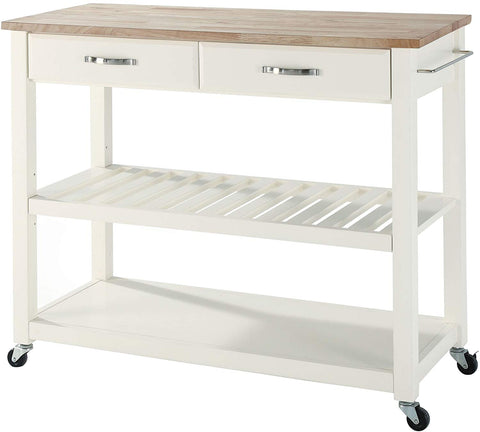 Crosley Furniture Portable Kitchen Cart with Natural Wood Top - White