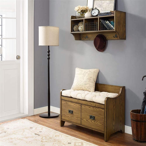 2-Pc Entryway Bench Set in Coffee Finish