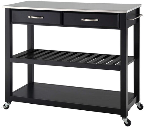 Crosley Furniture Portable Kitchen Cart with Stainless Steel Top - Black