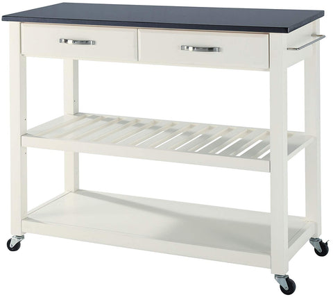 Crosley Furniture Portable Kitchen Cart with Solid Black Granite Top - White