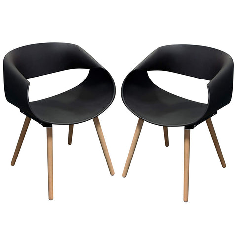 Diamond Sofa Accent Chairs in Black - Set of 2