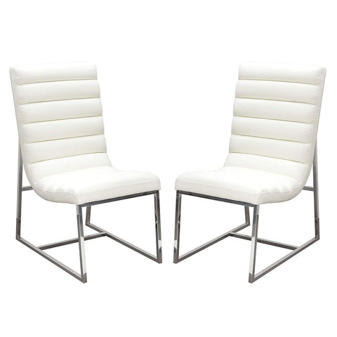 Diamond Sofa Dining Chair in White - Set of 2
