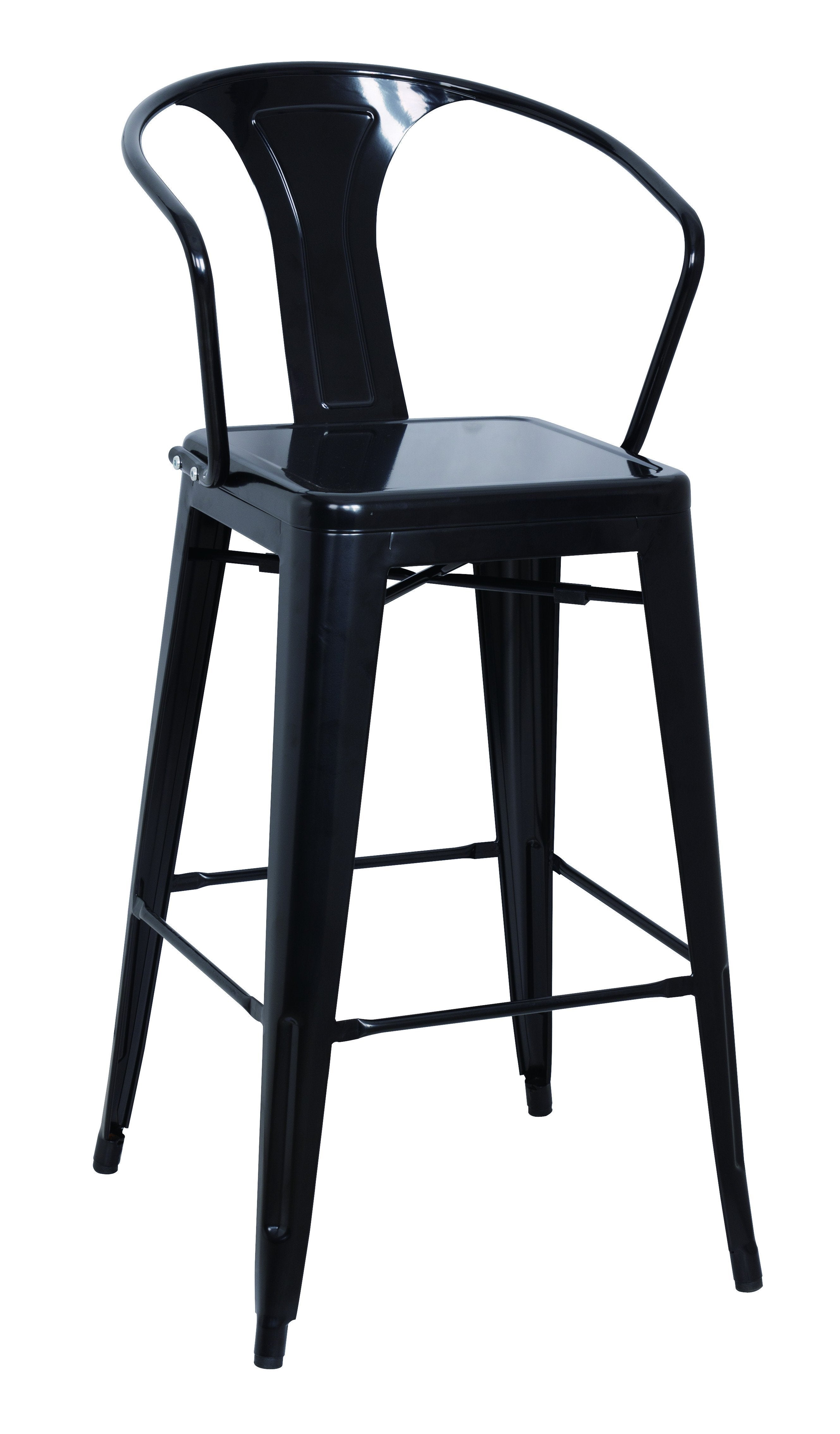 Chintaly 8020-bs-blk Galvanized Steel Bar Stool ( Set Of 4 )