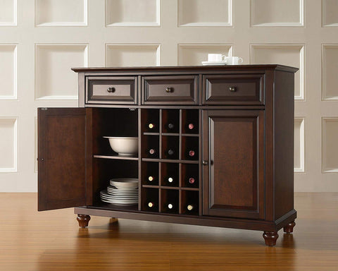 Crosley Furniture Cambridge Wine Buffet/Sideboard - Vintage Mahogany