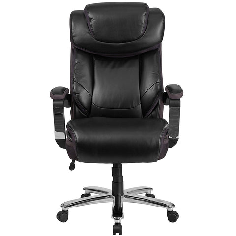 HERCULES Series 500 lb. Capacity Big & Tall Black Leather Executive Swivel Office Chair with Height Adjustable Headrest