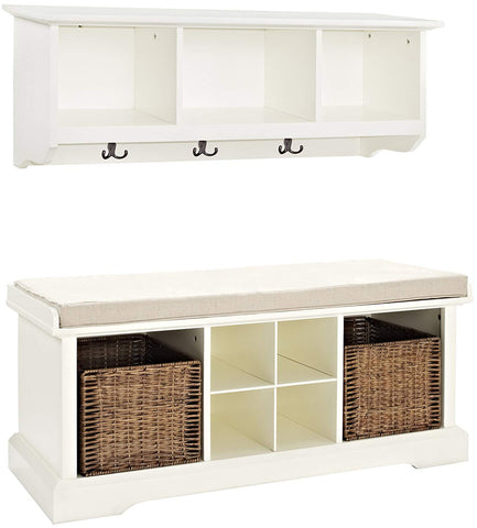 Crosley Furniture Brennan Entryway Storage Bench and Hanging Shelf Set - White