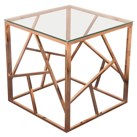 Diamond Sofa Square End Table in Rose Gold Finish