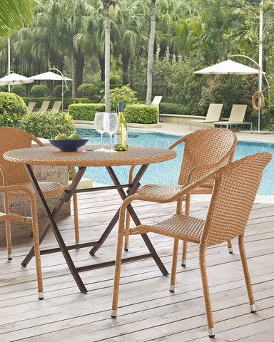Crosley Furniture CO7205-LB Palm Harbor Outdoor Wicker Folding Table - Light Brown