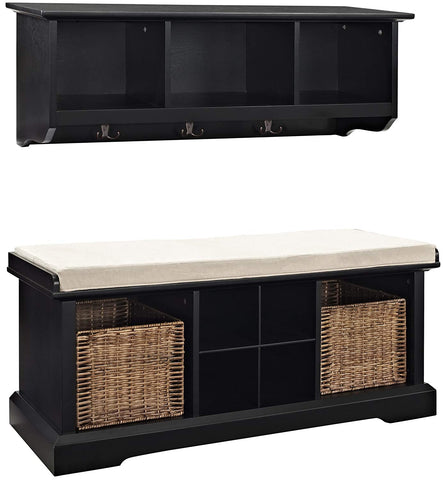 Crosley Furniture Brennan Entryway Storage Bench and Hanging Shelf Set - Black