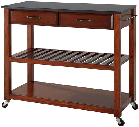 Crosley Furniture Portable Kitchen Cart with Solid Black Granite Top - Classic Cherry