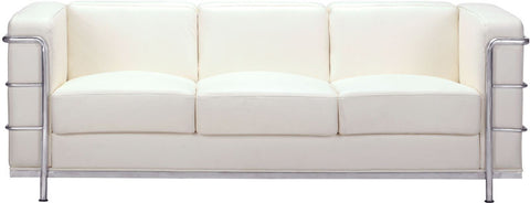 Zuo Modern 900231 Fortress Sofa Color White Chromed Steel Finish - Peazz Furniture