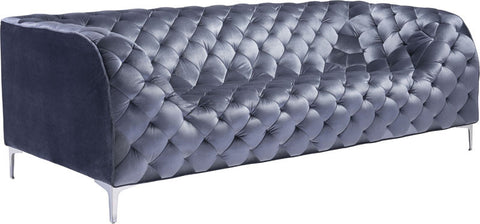 Zuo Modern 900280 Providence Sofa Color Gray Velvet Chromed Steel Finish - Peazz Furniture - 1