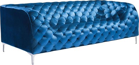 Zuo Modern 900282 Providence Sofa Color Neon Blue Velvet Chromed Steel Finish - Peazz Furniture - 1