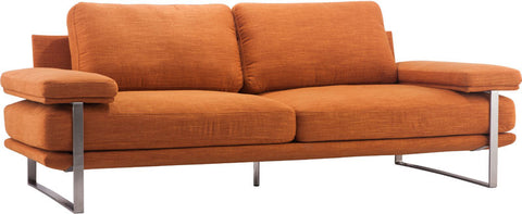 Zuo Modern 900625 Jonkoping Sofa Color Orange Brushed Stainless Steel Finish - Peazz Furniture - 1