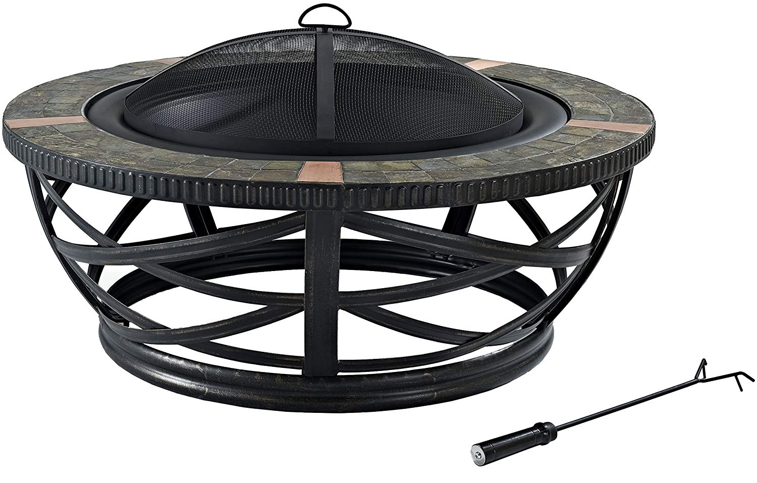 Crosley Furniture Glendale Round Outdoor Slate Fire Pit -...