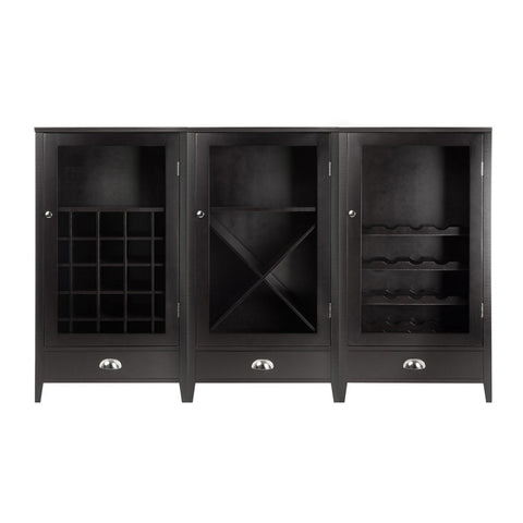 Winsome Wood 92359 Bordeaux 3-Pc Modular Wine Cabinet  Set with Tempered Glass Doors - Peazz Furniture