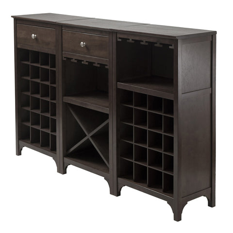 Winsome Wood 92367 Ancona 3-Pc Modular Wine Cabinet  Set - Peazz Furniture - 1
