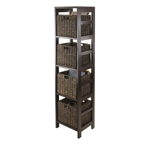 Winsome Wood 92541 Granville 5pc Storage Tower Shelf with 4 Foldable Baskets, Espresso - Peazz Furniture - 1
