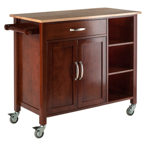 Winsome Wood 94843 Mabel Kitchen Cart Walnut/Natural - Peazz Furniture - 1