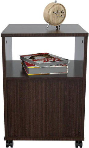 Inval America AR-1LTR Espresso-Wengue Finish Mobile File Cabinet with One Drawer - Peazz.com - 5