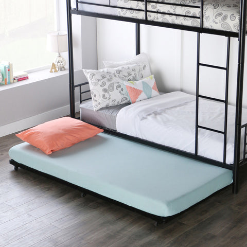 Walker Edison BT40TBBL Black Twin Roll-Out Trundle Bed Frame - Peazz Furniture - 1
