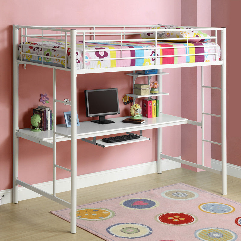 Walker Edison Btozwh Twin Metal Loft Bed With Workstation...