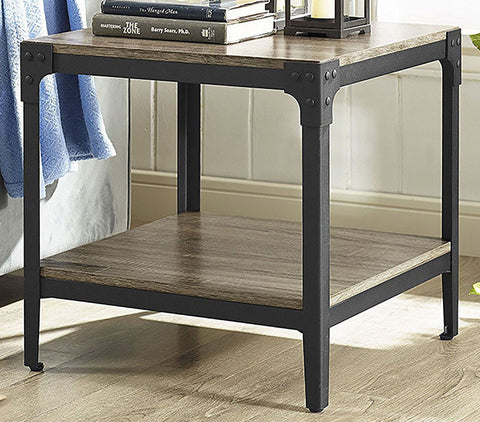 Walker Edison C20AISTAG Angle Iron Rustic Wood End Table, Set of 2 Driftwood Finish
