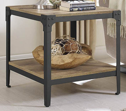 Walker Edison C20AISTBW Angle Iron Rustic Wood End Table, Set of 2 Barnwood Finish