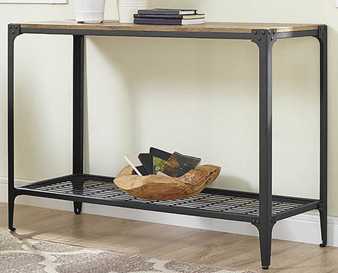 Walker Edison C44AIETBW Angle Iron Rustic Wood Sofa Entry Table Barnwood Finish