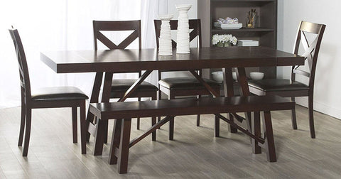 Walker Edison C60WTRES 6-Piece Solid Wood Trestle Style Dining Set Espresso Finish