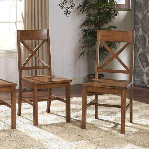 Walker Edison CHW2AB Antique Brown Wood Dining Chairs, Set of 2 - Peazz Furniture - 1