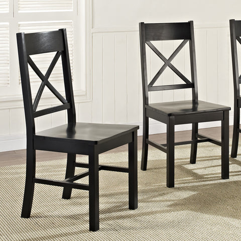 Walker Edison CHW2BL Black Wood Dining Chairs, Set of 2 - Peazz Furniture - 1