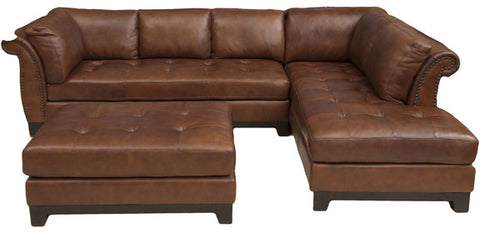 Element Home Furnishing COR-2PC-LAFS-RAFC-CO-BOUR-1 Corsario 2-Piece Top Grain Leather Sectional Collection (Left Arm Facing Sofa and Right Arm Facing Chaise) in Bourbon including 1-Sectional and 1-Cocktail Ottoman - Peazz Furniture