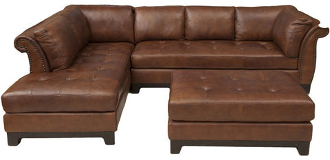 Element Home Furnishing COR-2PC-RAFS-LAFC-CO-BOUR-1 Corsario 2-Piece Top Grain Leather Sectional Collection (Right Arm Facing Sofa and Left Arm Facing Chaise) in Bourbon including 1-Sectional and 1-Cocktail Ottoman - Peazz Furniture