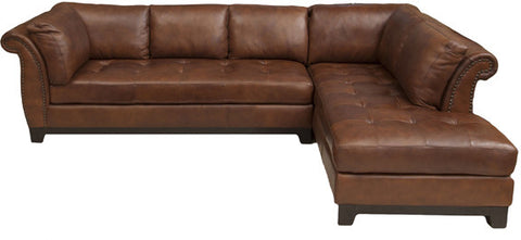 Element Home Furnishing COR-SEC-LAFS-RAFC-BOUR-1 Corsario Top Grain Leather Sectional (Left Arm Facing Sofa and Right Arm Facing Chaise) in Bourbon - Peazz Furniture