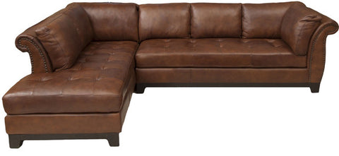 Element Home Furnishing COR-SEC-RAFS-LAFC-BOUR-1 Corsario Top Grain Leather Sectional (Right Arm Facing Sofa and Left Arm Facing Chaise) in Bourbon - Peazz Furniture
