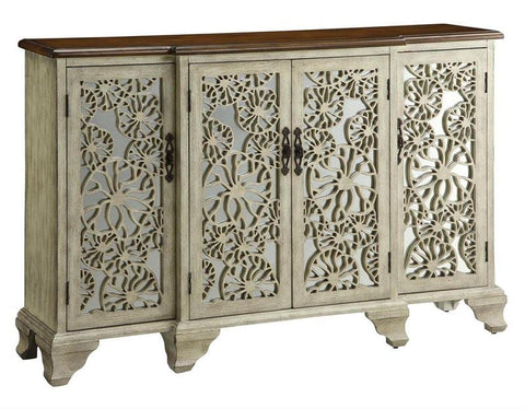 Bayden Hill CVFZR1075 Hawthorne Antique White 4 Door Sideboard 60.5 X 15 X 38 - Peazz.com