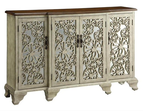 Crestview Collection CVFZR1075 Hawthorne Antique White 4 Door Sideboard 60.5 X 15 X 38 - Peazz Furniture